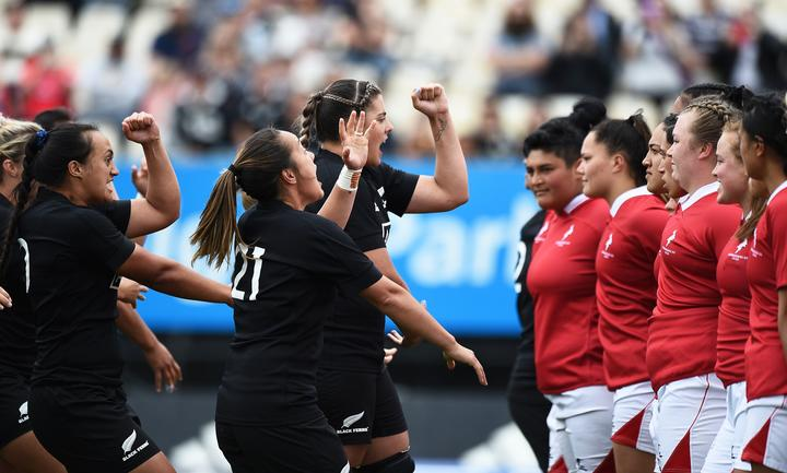 Black Ferns perform the haka ahead of their match against the New Zealand Barbarians at Trafalgar Park, Nelson, New Zealand. Saturday 21 November 2020.