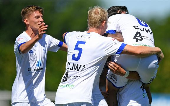 Hamilton Wanderers players celebrate a goal in the Handa Premiership football match against Hawke's Bay United at Bluewater Stadium, Napier, Sunday, November 15, 2020.