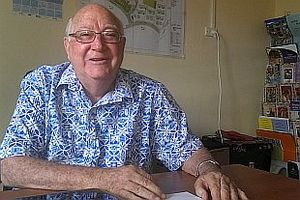 Father Kevin Barr an advocate for those in the Suva's squatter settlements in his office.