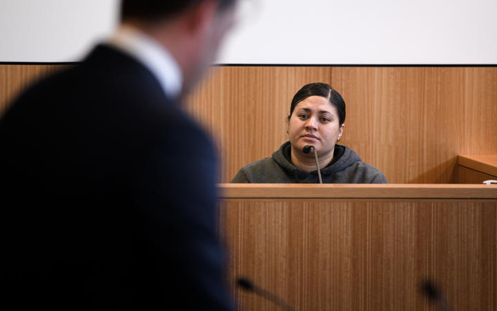 Mihi Bassett being questioned by the police prosecutor at  Manukau District Court