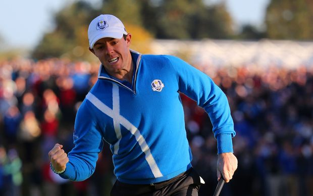 Europe's Rory McIlroy celebrates a birdie putt. Ryder Cup. Scotland. 2014.