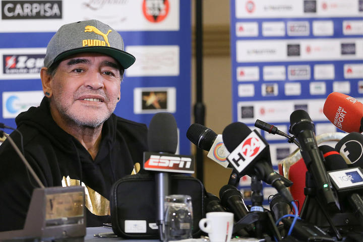 Diego Maradona at a media conference in 2017 in Naples.