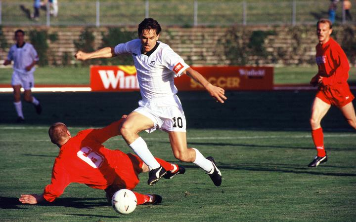 Wynton Rufer playing for the All Whites against his former German club Werder Bremen, at Mt Smart Stadium in Auckland in 1994.