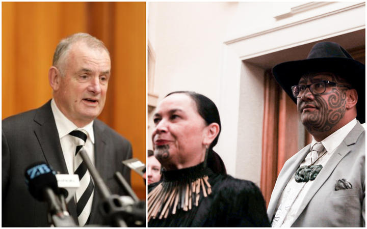 A composite picture of Speaker of the House Trevor Mallard (left) and Māori Party  co-leaders Debbie Ngarewa-Packer and Rawiri Waititi.