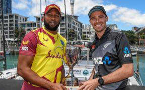 West Indies T20 captain Kieron Pollard and the Black Caps Tim Southee.