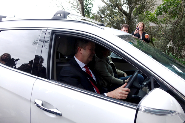 David Cunliffe heads into the Labour council meeting before his resignation.
