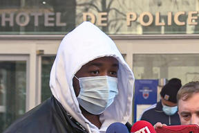 French music producer Michel Zecler spoke to reporters outside the National Police General Inspectorate in Paris.