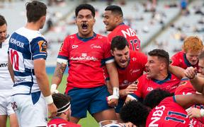 Tasman Sione Havili celebrates a try just before halftime during the Mitre 10 Cup Final rugby match between Auckland and Tasman Makos, held at Eden Park, Auckland, New Zealand.  28  November  2020