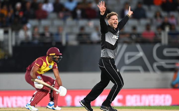 Lockie Ferguson appeals the for a LBW of Nicholas Pooran. New Zealand Black Caps v West Indies.