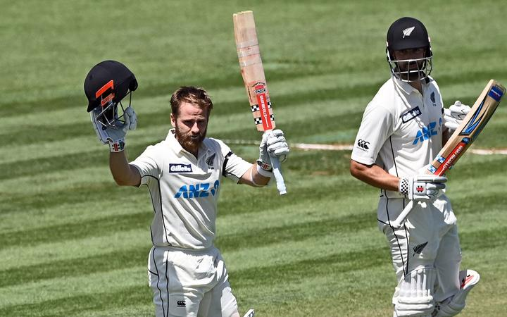 Kane Williamson celebrates his double century.