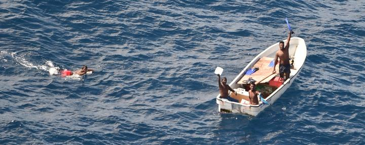 Four i-Kiribati fishermen found by RNZAF Orion crew.