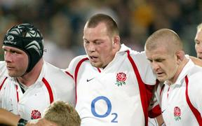 England front row, L-R, Graham Rowntree, Steve Thompson, Phil Vickery. 2003.