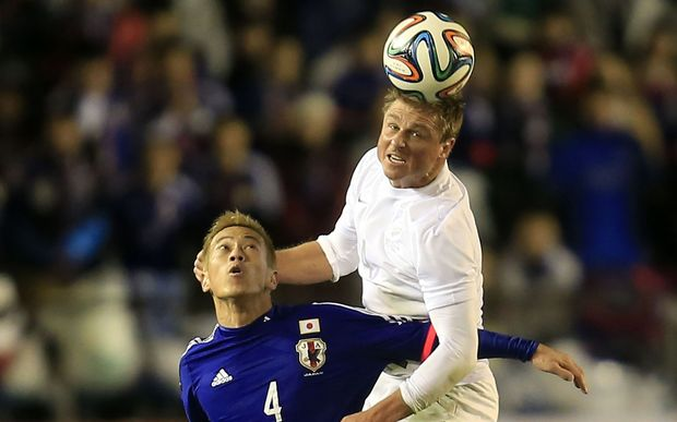 All Whites defender Ben Sigmund playing against Japan 2014.