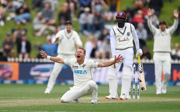 Neil Wagner appeals unsuccessfully for a LBW decision on Shamarh Brooks. New Zealand Black Caps v West Indies, Day 3 of the 2nd international cricket test at the Basin Reserve, Wellington on Sunday 13 December 2020.
