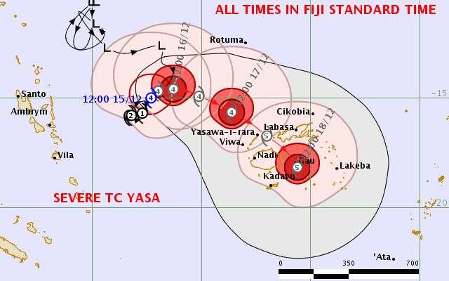 Cyclone Yasa is forecast to pass close to Fiji's main islands as a category five on Thursday or Friday.