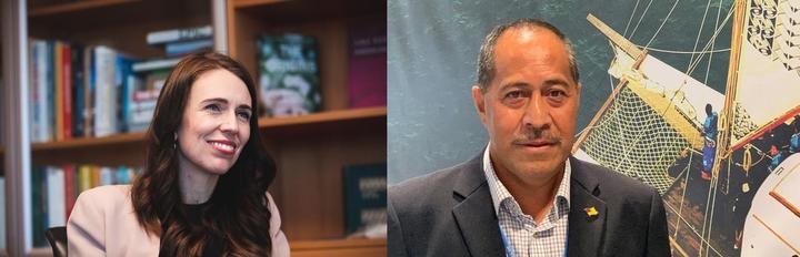 NZ PM Jacinda Ardern (left) and Niue Premier Dalton Tagelagi