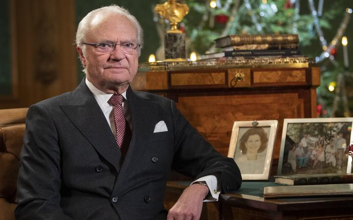 (file) Sweden's King Carl XVI Gustaf poses for a photo before recording his annual Christmas Day speech to the nation, at Stockholm Castle, Sweden, on December 16, 2019.