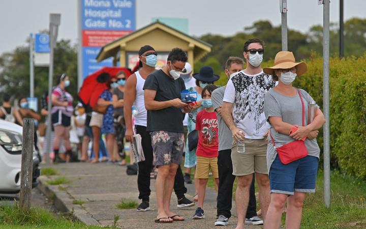 People line up for a Covid-19 coronavirus testing at Mona Vale Hospital in Sydney.