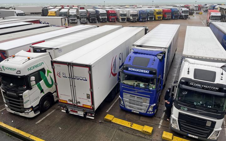 Parked-up freight trucks at the Port of Dover in Kent, south east England on December 21, 2020.