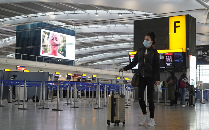 The almost deserted departures hall at Terminal 5 of Heathrow Airport in west London on 21 December 2020, as a string of countries around the world banned travellers arriving from the UK, due to the rapid spread of a new, more-infectious coronavirus strain.