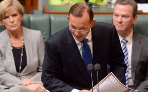 Tony Abbott, centre, and Julie Bishop at Parliament today.