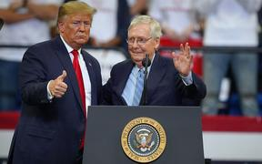 LEXINGTON, KY - NOVEMBER 04: U.S. President Donald Trump stands with Senate Majority Leader Mitch McConnell during a campaign rally at the Rupp Arena on November 4, 2019 in Lexington, Kentucky.
