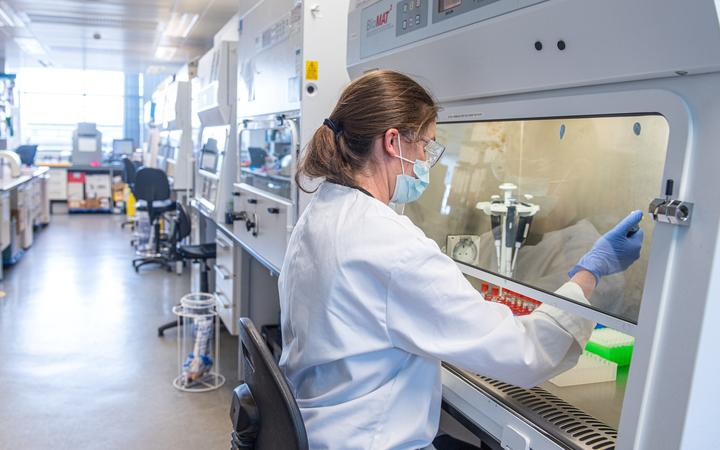 An undated handout picture released by the University of Oxford on November 23, 2020 shows a technician working at Oxford Vaccine Group on the University's COVID-19 candidate vaccine,