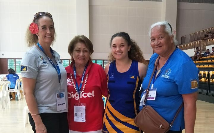 L-R - Georgina Venning (daugther), tournament official Olivia Aunoa, ,Malia Venning (player and granddaughter) and Nive Venning Ahelemo at the 2019 Pacific Games in Samoa.