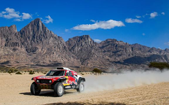 Mini driver Stephane Peterhansel of France on the Dakar Rally 2020.