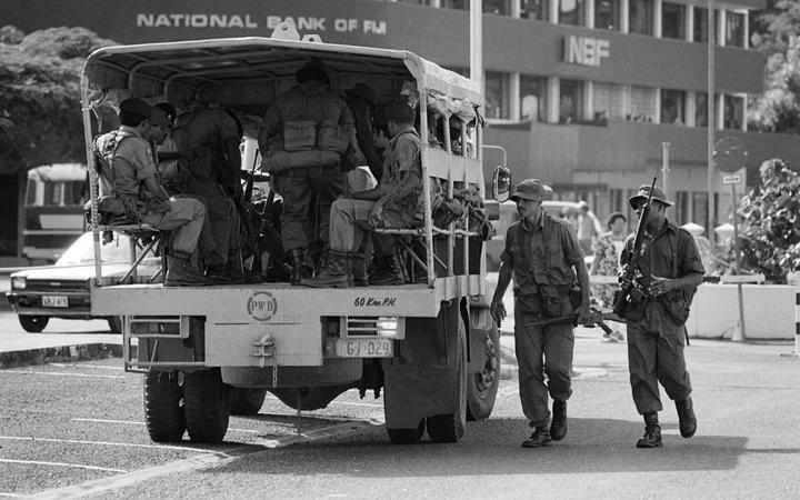 Fiji soldiers patrol the streets of Suva after the 1987 coup.