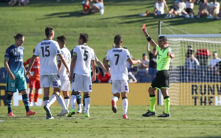 Alex Rufer gets a red card during the A-League match,  Macarthur FC v Wellington Phoenix at Campbelltown Stadium, Saturday 9th January 2021
