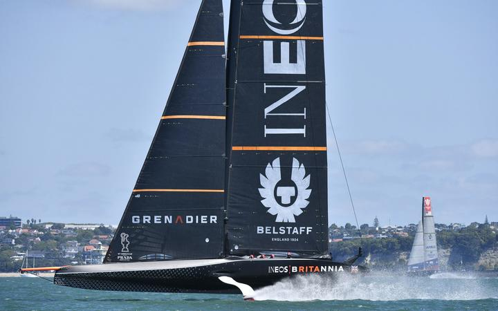 Ineos Team UK up and foiling on day one of the America's Cup Challenger Series.