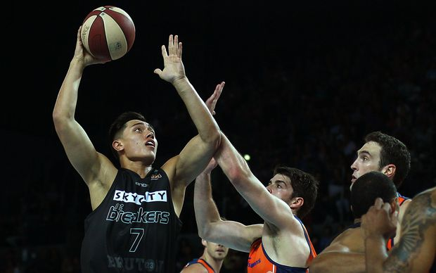 Reuben Te Rangi of the Breakers goes to the hoop. 2014.