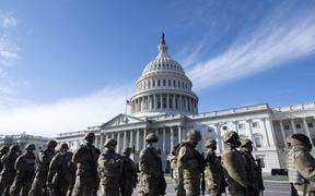 Members of the US National Guard at the US Capitol on 18 January 2021 prior to a dress rehearsal for the 59th inaugural ceremony for President-elect Joe Biden and Vice President-elect Kamala Harris.