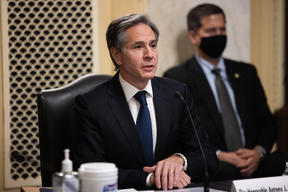 Nominee for Secretary of State Antony Blinken testifies at his confirmation hearing before the Senate Foreign Relations Committee on Capitol Hill January 19, 2021.