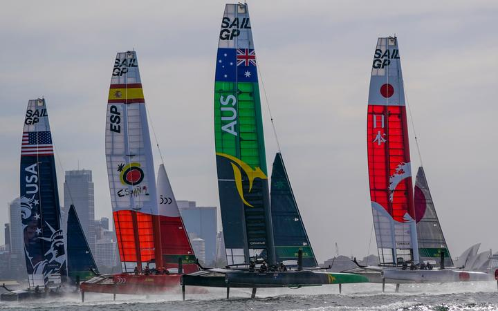 SailGP boats in action in Sydney.