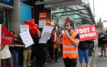 ANZ workers protest in Newmarket, as part of a disagreement between the bank and FIRST Union.