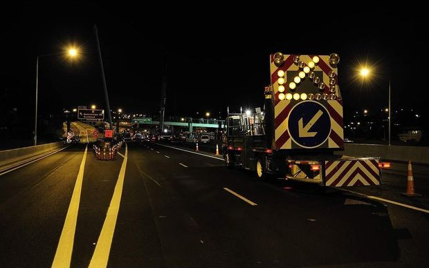 A traffic control truck works in Onehunga.