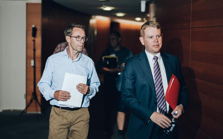 Director-General of Health Dr Ashley Bloomfield and Covid-19 Response Minister Chris Hipkins.