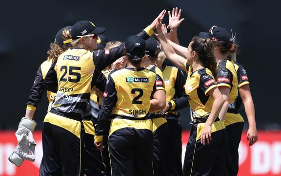 The Blaze celebrate Sparks' captain Katey Martin being caught during the Dream 11 Super Smash cricket match between the Wellington Blaze & Otago Sparks at the Basin Reserve in Wellington. 24 January 2021.