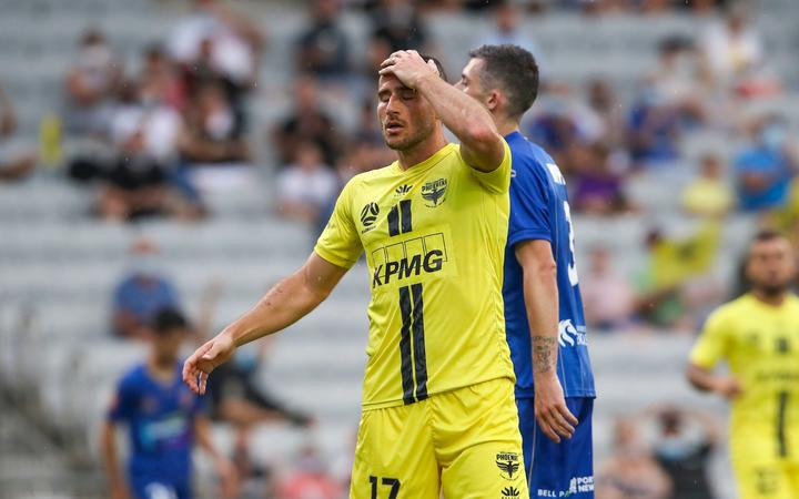 Tomer Hemed of the Phoenix looking dejected after a missed chance during the A-League match,  Wellington Phoenix v Newcastle Jets at WIN Stadium, Sunday 24th January 2021.