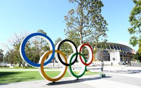 Olympic rings are displayed at Japan Sport Olympic Square near national stadium in Tokyo, Japan.