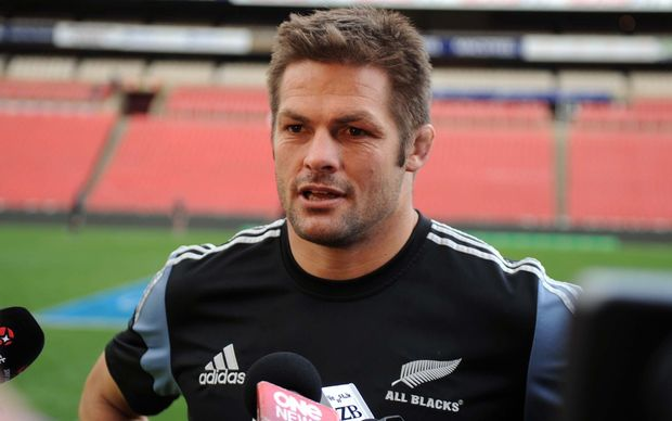 Richie McCaw talks to the media at the All Blacks captain's run at Ellis Park