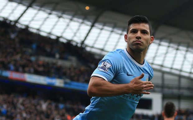 Sergio Aguero of Man City celebrates.