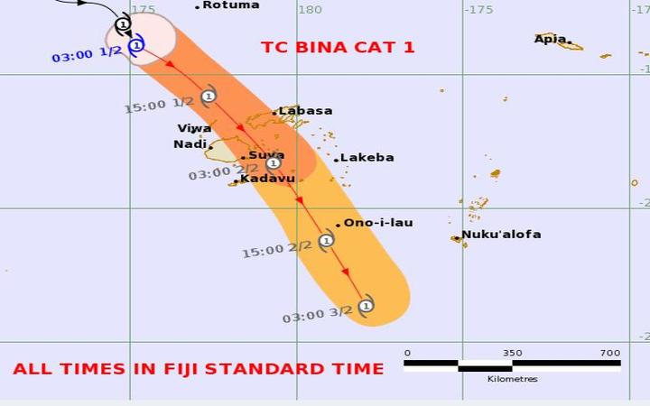 Bina on track to cross Fiji