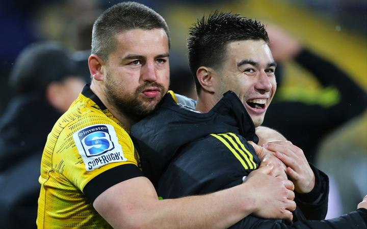 Hurricanes Dane Coles & Jackson Garden-Bachop await the final whistle during the Hurricanes v Blues Super Rugby Aotearoa match at Sky Stadium on Saturday the 18th of July 2020. Copyright Photo by Grant Down / photosport.nz