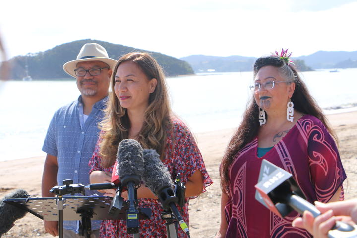 From left, Green Party MP Teanau Tuiono, co-leader Marama Davidson and MP Dr Elizabeth Kerekere at Waitangi 5 February 2021.