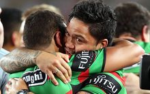 Issac Luke celebrates after his Rabbitohs won their first Premiership for 43 years