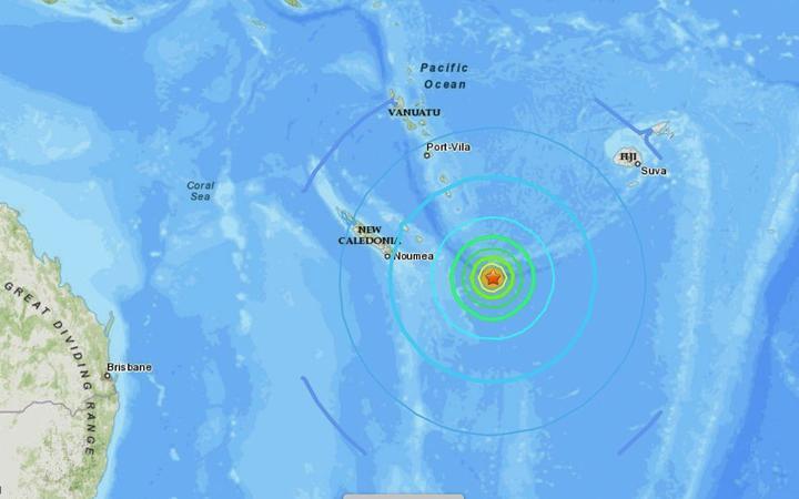 The 7.7-magnitude undersea quake struck southeast of Loyalty Islands.