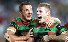 Sam Burgess (R) celebrates his try with brother George Burgess (L). NRL Grand Final. October 2014.